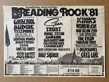 More details for reading rock 1981 gillan/girlschool/kinks memorabilia original music press adver