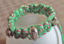 Bracelet réglable pour rugbymen Macramé drisse verte et rouge Ado Homme rugby