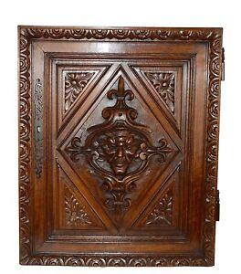 French Antique Gothic Hand Carved Walnut Wood Door Panel Mascaron Renaissance