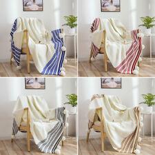 Cotton Stripe Removable Pom Pom Blanket Knitted Throw Bedding Crochet Rug New