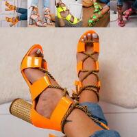 Women Block High Heel Ankle Open Toe Bandage Lace Up Sandals Shoes US Sizes Hot