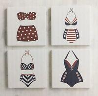 Pier 1 PATRIOTIC Americana Retro Swimsuit Bathing Suit Coaster Set of 4  NEW