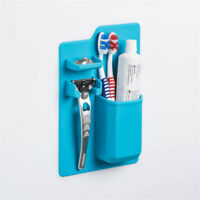 1pc Silicone Bathroom Organizer Mighty Toothbrush Holder bathroom Mirror blue SP