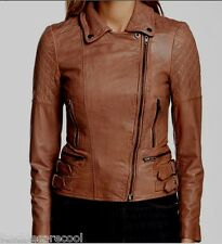 NWT MUUBAA ROKEL BROWN TAN LEATHER SKINNY BIKER JACKET US 8 M UK 12 TAUPE