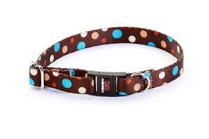 "Tufflock Adjustable 6""-11"" BREAKAWAY Cat Collar DOTZ MOCHA"