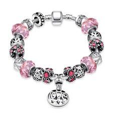 Elegant 925 Sterling Silver SF Charm Glass Bead Lady Flora Pink Bracelet BL-A370