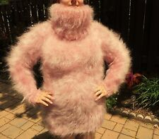 Extra Tall TURTLENECK 80% Mohair Sweater! XL Fetish Furry Fuzzy Fluffy PINK!