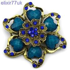 "2.6"" LARGE GOLD HEART FLOWER VINTAGE BROOCH BLUE RHINESTONE CRYSTAL PARTY BROACH"