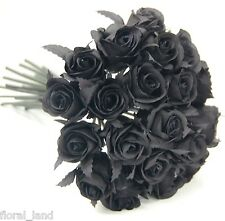 BLACK GOTHIC ROSE POSY WEDDING BOUQUET ARTIFICIAL SILK FLOWER FLOWERS PRE MADE