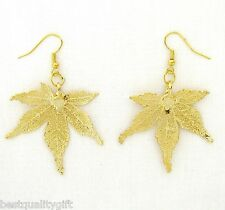NEW 100% REAL NATURAL JAPANESE MAPLE LEAF DIPPED IN GOLD HOOK EARRINGS
