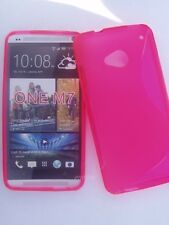 HTC ONE M7 Etui Housse Coque S line Souple Semi rigide silicone   Rose