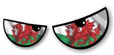 Par De Mal Ojos Ojo galés Gales enojado Bandera Coche Pegatina Calcomanía Casco De Moto