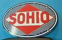 VINTAGE SOHIO GASOLINE PORCELAIN OHIO GAS SERVICE STATION PUMP AUTOMOBILE SIGN