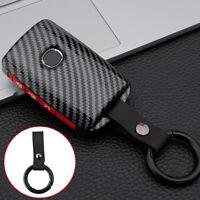 Black Carbon Fiber Car Remote Key Shell Case Fob Cover For Mazda 3 CX4 CX5 CX8