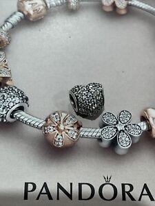 Genuine Pandora Bracelet Charm Pave Clear Heart Read Description