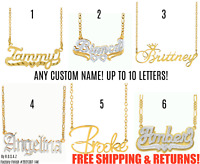 Personalized FINE Sterling Silver 14K Gold ANY Name Plate Necklace + Chain 12STY