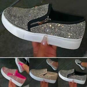 Women Shining Rhinestone Flat Loafers Casual Pumps Platform Zip Flatform Shoes.