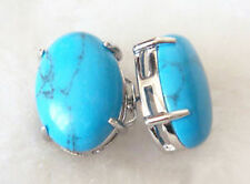 Plated Stud Earrings Turquoise Beads White Gold