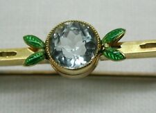 Beautiful Antique 18ct Gold Aquamarine And Guiloche Enamelled Bar Brooch