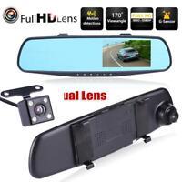 """HD 1080P 4.3"""" Dual Lens Car Dash Cam DVR Rear View Mirror Video Camera"""