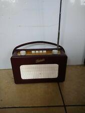 More details for vintage roberts revival  portable radio burgundy working (07104)
