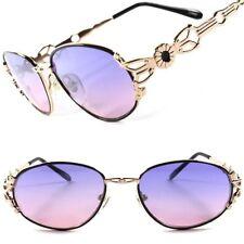 Funky Purple Pink Lens Vintage Fashion 70s Womens Stylish Gold Oval Sunglasses