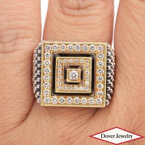 Lagos Caviar Diamond 18K Gold Sterling Silver Washington Square Ring 21.6 Gr NR