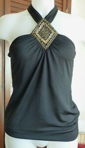 Next - Black Halter Neck With Gold Sequins - size 10 - New Without Tgas - Party