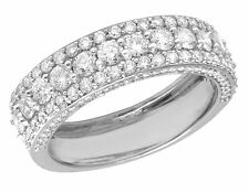 Men's 10K White Gold Genuine Diamond Three Row 3D Wedding Band Ring 3 CT 7MM