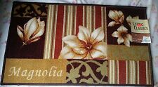 "PRINTED NYLON KITCHEN RUG (non skid latex back) (18"" x 30""), Magnolia Flowers"