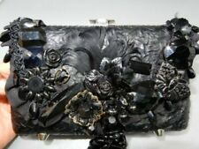 Mary Frances embellished beaded all black beaded art bag clutch
