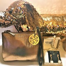 TORY BURCH & GUESS (Rose Gold Sequin Pup, Earrings, Bracelet & Bag) Great Gift!