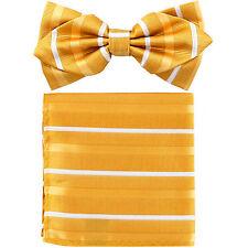Men's Layer Diamond Shape Pre-tied Bow Tie and Pocket Square Hankie Yellow White