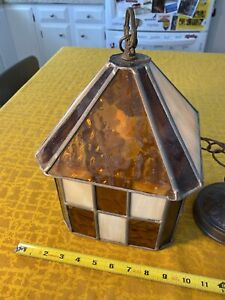 Pendant Lamp Light Fixture Tiffany Style Stained Glass Shade Adirondack Camp