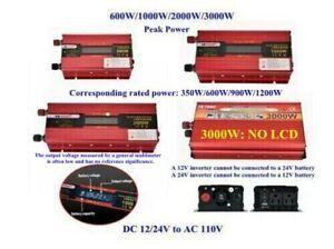 Portable Car LED Power Inverter WATT DC 12V Or 24V to AC 110V Charger Converter