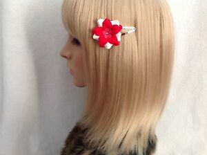Red white flower rose hair snap clip rockabilly pin up girls retro vintage cute