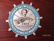 VINTAGE PAPER LUGGAGE LABEL ' HANNIBAL MISSOURI BOYHOOD HOME OF MARK TWAIN '