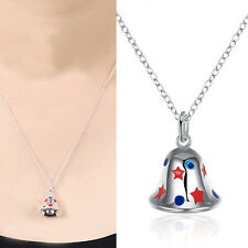 Womens Silver Plated Christmas Bell Pendant Long Sweater Chain Necklace Jewelry