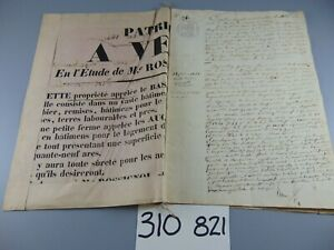 ANTIQUE 19th c HANDWRITTEN INDENTURE MANUSCRIPT 1841 FRENCH 8 PAGES + POSTER