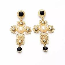 Trendy Women Palace Imitation Pearl Gold Plated Cross Black Bead Dangle Earrings