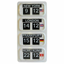 Grayson World Time Zone Flip Clock New York London Hong Kong Frankfurt - GWT30^