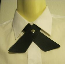 Continental style necktie Cross bow black Leather western adjustible slide