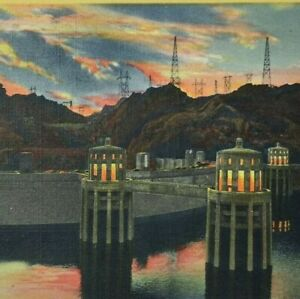 Hoover Boulder Dam Arizona Nevada Sunset View Vintage Linen Unposted