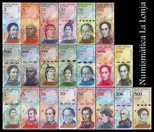 B-D-M Venezuela Set 21 billetes 2-100 500-100000 2-500 Bolívares 2007-2018 UNC