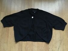BANANA REPUBLIC Black Cotton/Rabbit Fur Bolero Top, Size XS