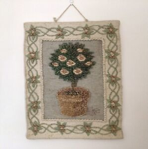 Vintage Tapestry Wall Hanging Hand Woven Wool Embroidery Tree