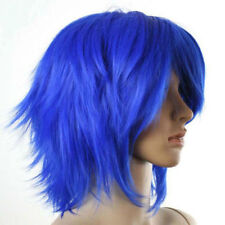 Cosplay Wig Short Layered Blue Flip Out Style Wigs