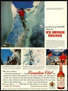 1957 CANADIAN CLUB Whiskey - Ice Climbing- Snow- Lake Louise- Drinks -VINTAGE AD