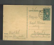 1940 Monor Ghetto Hungary Postcard Cover to Budapest Judaica Pol Kerpel Kz