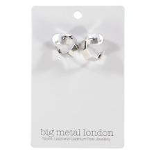 Big Metal London Corine Square Hoop Earrings Silver